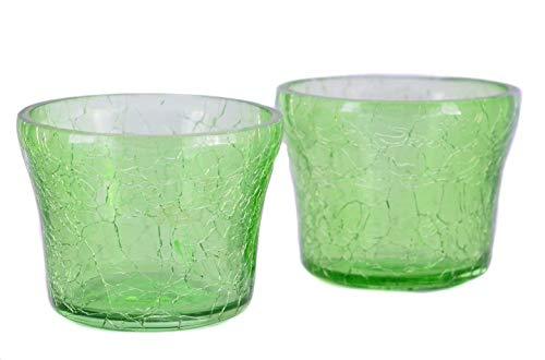 MystiqueDecors Green Candle Holders Tealight Votive Evening Decoration Set of 2 Crackled Finish Gift