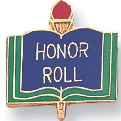 Honor Roll Lapel Pin - 1 Inch Honor Roll Lapel Pin - Package of 12, Poly Bagged