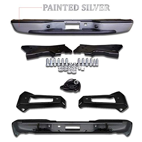 Make Auto Parts Manufacturing Rear Painted Silver Step Bumper Assembly Fleetside With Brackets Light Kit Bolts Bar For Chevrolet Silverado 1999-2006 / GMC Sierra 1500 1999-2006 - Partslink GM1103124 (Rear Bumper Silverado Chevy)