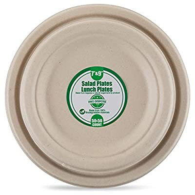 Sugarcane/Bagasse (Wheatstraw) Disposable Plates- 100% Tree Free Natural Biodegradable Plant Based Process -Compostable Chemical Free and Eco Friendly Plates, Microwavable