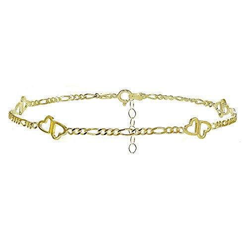 Yellow Gold Flashed Sterling Silver Figaro Chain with Double Heart Anklet