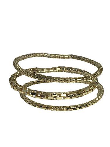 Mesh Chain Stretch Multilayer Bangle 12K Gold Filled 925 Sterling Silver Filled for Women Girls Men (SET-1-GOLD) ()