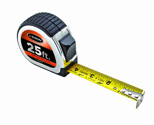 Keson PG181025 Nylon Coated Steel Blade Tape Measure (Graduations: 1/10, 1/100 & ft, in, 1/8), 1-Inch by 25-Foot
