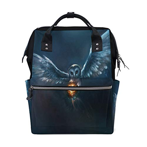 Diaper Bags Owl and Halloween Pumpkin Fireball Fashion Mummy Backpack Multi Functions Large Capacity Nappy Bag Nursing Bag for Baby Care for Traveling]()