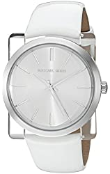 Michael Kors Women's 'Kempton' Quartz Resin and Leather Casual Watch, Color:White (Model: MK2482)