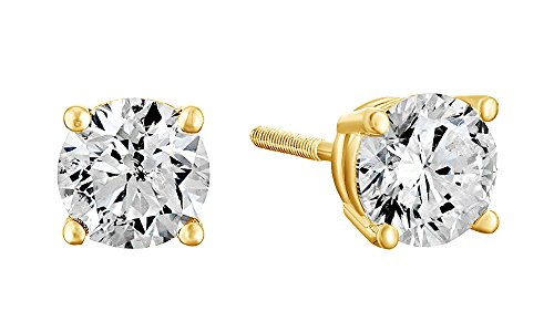 10K Solid Yellow Gold Natural Diamond Solitaire Stud Earrings With Screw Back (1 Ct)