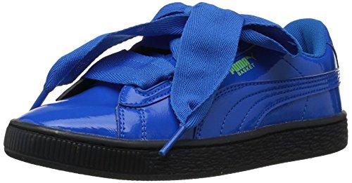 Glitter Blue Heart (PUMA Baby Basket Heart Iced Glitter Block Kids Sneaker, plat Blue Black, 6 M US Toddler)
