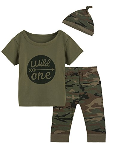 Truly One Baby Boys Girls Outfit Long Set 2PCS Camouflage Letter Print Shirt With Pants (Wild One Short Camouflage, 12-18 Months)