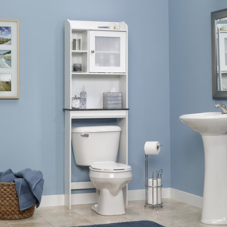 space saver bathroom cabinet soft white fits over toilet adjustable shelf bead board back panel - Bathroom Cabinets That Fit Over The Toilet