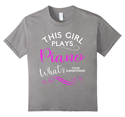 Kids This Girl Plays Piano What's Your Superpower T Shirt Band 12 Slate