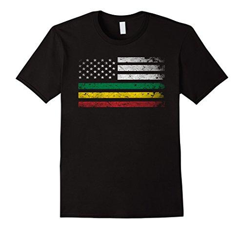 Mens Africa Flag Shirt -African American Flag Rasta Reggae TShirt XL Black by AfricanFlagStore