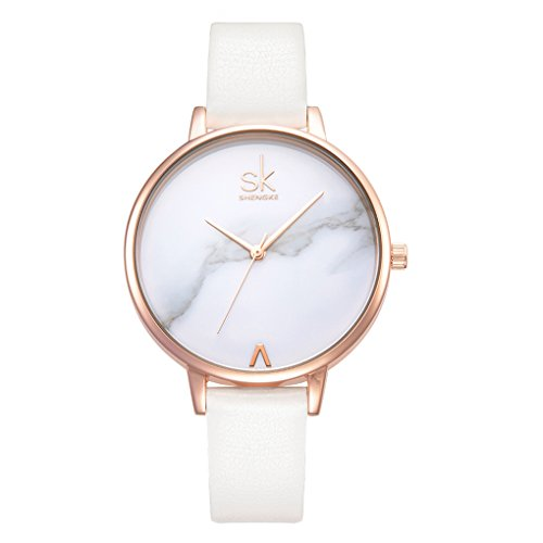 Fashion Marble Dial Watch Women Simply Quartz Watches Leather Band Casual Ladies Wristwatch (Marble - Ladies Wristwatches