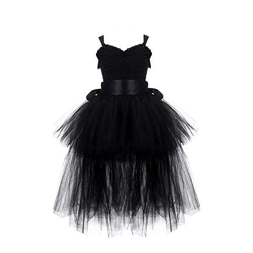 Dress Tulle V-Neck Train Girl Evening Birthday Party Dresses Kids Girl Ball Gown Dress,Black,7 -