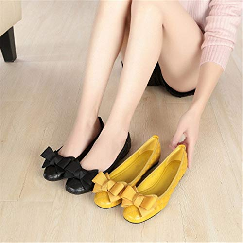 shoes dance women FLYRCX casual bow yellow Sweet shoes shoes pregnant fashion sole shoes shoes flat work soft shallow shoes comfortable qgPZfg