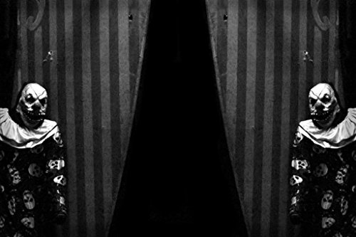 Carnival Curtains with Creepy Clown B&W Photo Art Print Poster 36x24 -