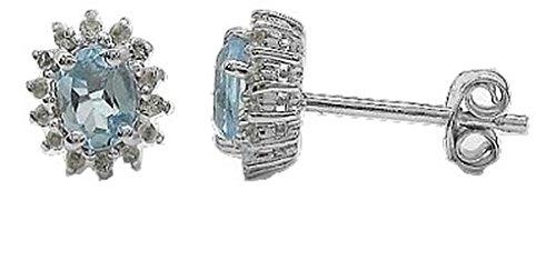 Bijoux Schmidt-Topaze bleue / blanc Topaze Boucles d'oreilles / Stud - Argent 925 rhodié à 1,28 carats - 30 gemmes