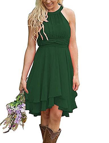 YinWen Women's Cute Girls Formal Dresses Hi-Lo Chiffon with Ruffles Halter Country Bridesmaid Dresses Dark Green US10