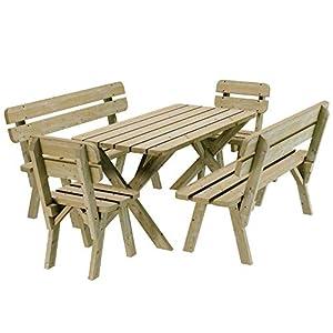 Ensemble Repas de Jardin en pin 6 Personnes imprégné 120 cm Table Banc d'extérieur Chaise
