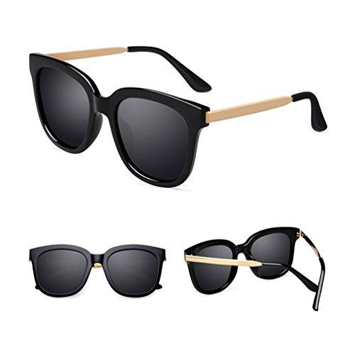 la de Lady Visage ZQ carré Lunettes de Ronde Lunettes Polarisées Soleil Red Nets Soleil Mode à Hommes pour Sunglasses 2018 Noir wnOztYOq