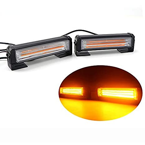 16W Bright Linear LED Mini Strobe Lightbar Surface Mount for POV Utility Vehicle AT-HAIHAN Amber White Grille Light Head Construction Vehicle and Tow Truck