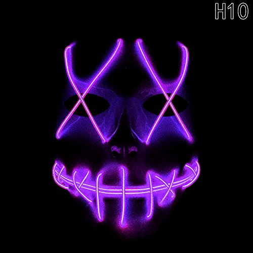 Scary Mask Halloween Cosplay Led Costume Mask El Wire Light Up Mask for Halloween Festival Parties (H010)