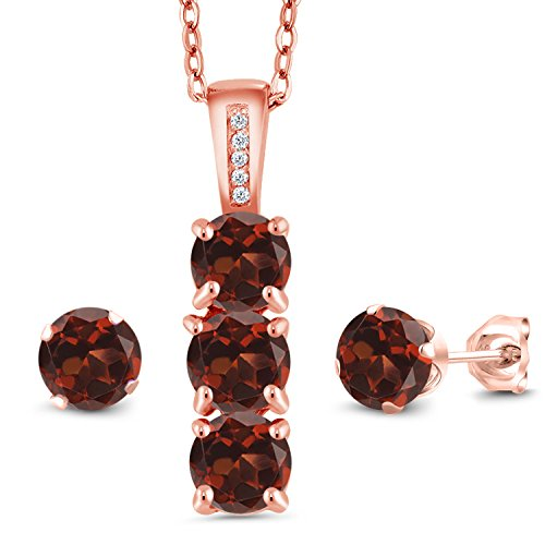 (Gem Stone King 2.79 Ct Red Garnet White Diamond 18K Rose Gold Plated Silver Pendant Earrings Set)