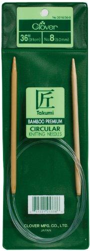 Clover Takumi Bamboo Circular 36-Inch Knitting Needles, Size 11 by Clover