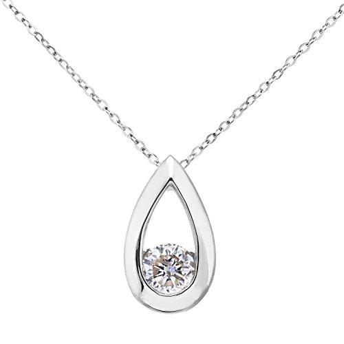 Revoni Bague en or blanc 9carats-Diamant Teadrop-Collier Femme-Pendentif-Diamant 0.33Cts