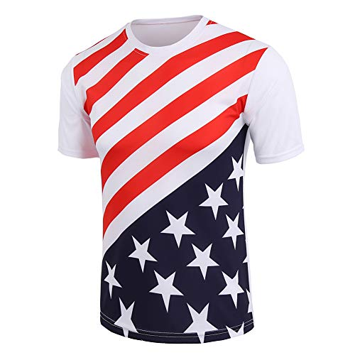 Mens T-Shirts US-Flag Graphic-Tees Short-Sleeve Quick Drying Casual-Tops White XL
