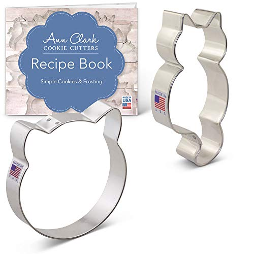 Cat Cookie Cutter Set with Recipe Booklet - 2 piece - Cat Face & Cute Kitty Cat - Ann Clark - USA Made Steel