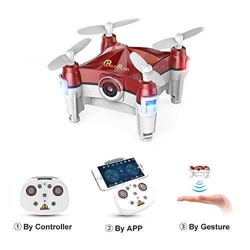 Mini Drone with Camera Live Video 2.4GHz Wifi FPV RC Quadcopter with Headless Mode, Red by Beebeerun