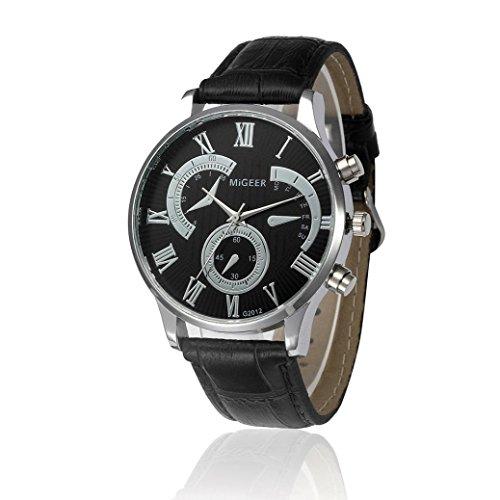 Pocciol Men's Cool Retro Design Leather Strap Quartz Alloy Analog Wristwatch Clock (Black) by Pocciol (Image #3)