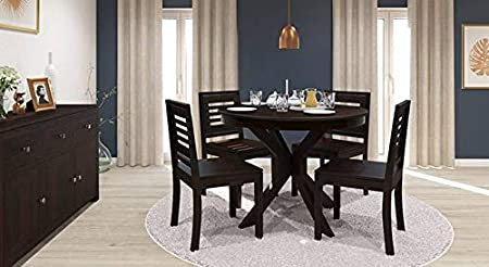 Krishna Wood Decor 4 Seater Wooden Round Dinning Table Set, Solid Seesham Wood, Dimensions: Table Size - Table Size - 43.5x43.5x30.0 Inch, Chair - 17.5x16.5x35.4 Inch, (Brown/wallnut)