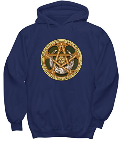 Men's and Women's Hoodie with Celtic Knots, Pentagram, and Samhain Triple Spiral (2XLarge, Navy (Traditions Halloween Ireland)