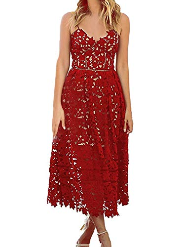 Alvaq Women's Sexy V Neck Sleeveless Lace Dress Red, Small