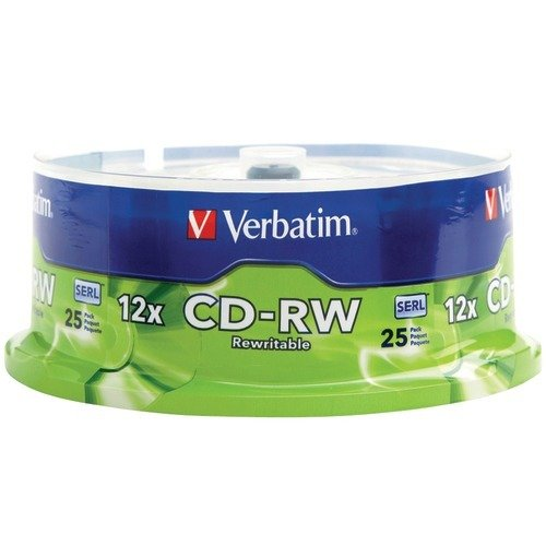 Verbatim CD-RW 700MB 4X-12X High Speed Discs Surface, Spindle of 25