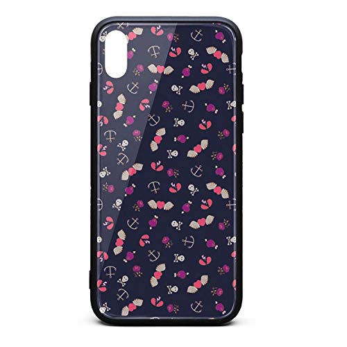ZaiyuXio iPhone Xs Max Case Heart Wings Skull Anchor Tempered Glass Back Cover Scratch-Resistant Anti-Slip Soft TPU Frame for iPhone Xs MAX 6.5 inch 2018