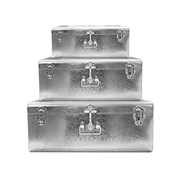 Zanzer Silver Galvanized Metal Trunks Set of 3 - Vintage Style Storage w/Silver Finish Handles & Locks - Space Saving Organizer Home Dorm & Office Use