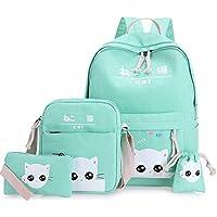 4Pcs/set women backpack schoolbag korean rucksack lovely school bags for teenager girls student bag set canvas backpacks…