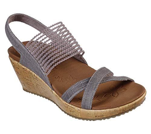 Skechers Beverlee High Tea Womens Slingback Wedge Sandals Mauve 11