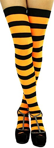 Raylarnia Women's Extra Long Opaque Striped Over Knee High Stockings Socks-Black / yellow Stripes (Black And Yellow Striped Nylon Stockings)
