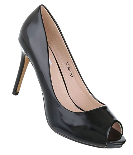 Schuhcity24 Damen Pumps Extravagant  Stiletto High Heels  Stilettos Schuhe  Peeptoes Lack  Plateau Pumps ...