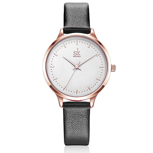Dial Women Watches on Sale Leather Belt with Women'Wrist Standard Size (K8033-Black) (Lady Leather Belt Watch)