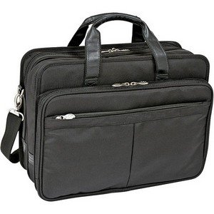 McKleinUSA WALTON 73985 Black Expandable Double Compartment Laptop Case w/ Removable Sleeve