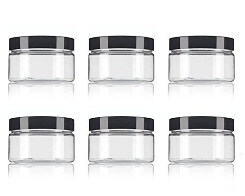 6Pcs 250ml/8oz PET Plastic Refillable Jars Empty Cosmetic Containers Cases with Black Lid Cream Lotion Box Ointments Bottle Food Bottle Makeup Pot Jar for Lip Balm Make Up Eye Shadow Powder