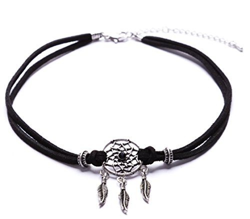 Happiness Boutique Women Boho Choker Dreamcatcher Pendant | Black Faux Leather Necklace with Willow Hoop (Hours Eve Buy Christmas Best)