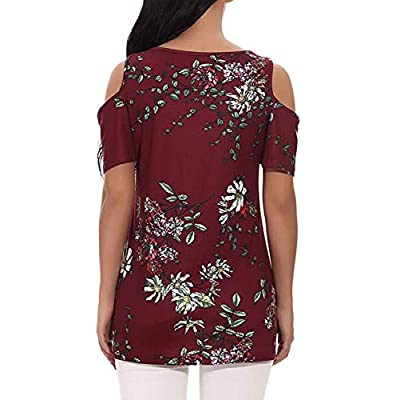 ANDUUNI Womens Floral Print Cold Shoulder Swing Tunic Tops Casual Loose Short Sleeve Blouse Shirts at  Women's Clothing store
