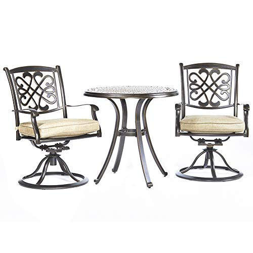 dali 3 Piece Bistro Set, Cast Aluminum Dining Table Patio Glider Chairs Garden Backyard Outdoor Furniture -