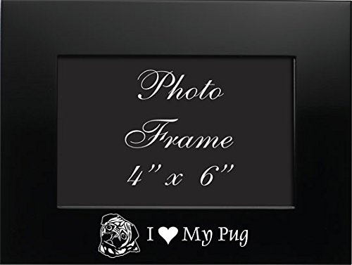 4x6 Brushed Metal Picture Frame-I love my Pug-Black by LXG, Inc.