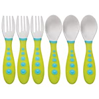 Gerber Graduates Kiddy Cutlery Forks & Spoons in Neutral Colors, 6-count